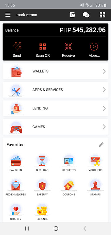 Tagcash Walelt App Dashboard